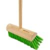 Yard broom 255mm head with handle - Green PVC