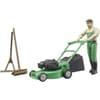 U62103 Gardener with lawnmower and equipment