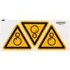 Safety sign. Beware of rotating parts!