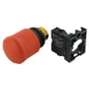 Emergency stop switch with mounting adapter and contact elements