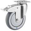Roestvrijstalen zwenkwielen met dubbele rem, plaatbevestiging en wiel met rubber loopvlak 50-100Kg