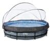 Simbassäng med ram Stone, diameter 360x76 cm, med sandfilterpump och poolskydd