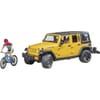 U02543 Jeep Wrangler Rubicon Unlimited mit Mountainbike und Fahrradfahrer