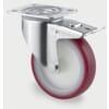 Edelstahl-Lenkrollen mit Totalfeststeller, Plattenbefestigung und Rad mit rote Polyurethan-Lauffläche 100-400Kg