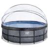 Rahmen-Swimmingpool Stone, Durchmesser 450x122 cm, mit Sandfilterpumpe und Abdeckplane