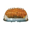 Indicator light 18W, oval, 12V, amber, housing: silver, bolt on, 83x41mm, Hella