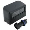 Number plate light rectangular, black, bolt on, 80x49mm AMP plug, Cobo