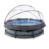 Rahmen-Swimmingpool Stone, Durchmesser 300x76 cm, mit Kartuschenfilterpumpe und Abdeckplane