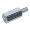 Spacer bush with metal internal and external thread, metric zinc-plated