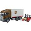 U03581 Scania-LKW mit Kofferaufbau und Gabelstapler