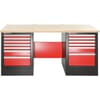 JLS2 Heavy Duty workbench with wooden worktop, drawer unit with 7 drawers and 6 drawers
