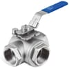Ball valve, 3-way, L-bore stainless steel